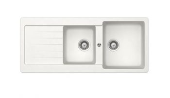 ABEY SCHOCK TYPOS DOUBLE BOWL SINK WITH DRAINER WHITE