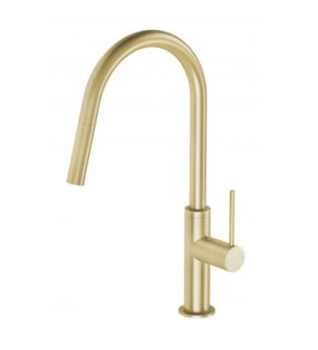 PHOENIX VIVID SLIMLINE PULL OUT SINK MIXER BRUSHED GOLD