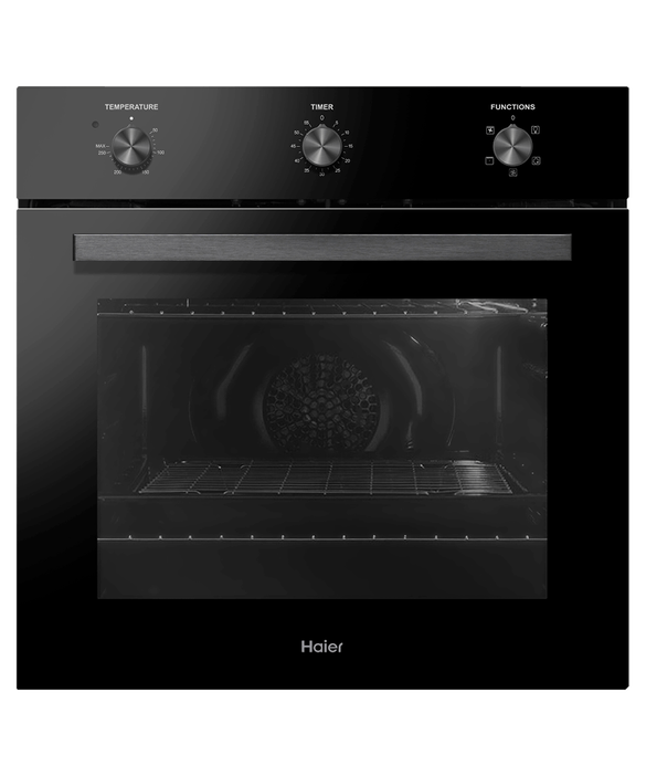 HAIER 60CM BLACK GLASS 66L, 4 FUNCTION OVEN WITH MECHANICAL TIMER HWO60S4LMB2