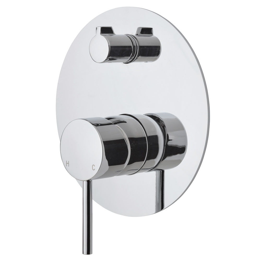 Fienza Cali Wall Diverter Mixer, Large Round Plate