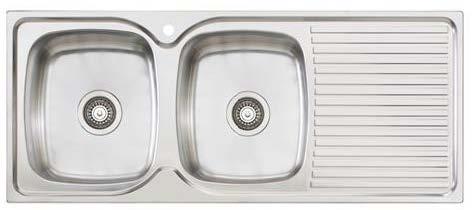 Oliveri Project Sink – Double Bowl & Drainer - Topmount