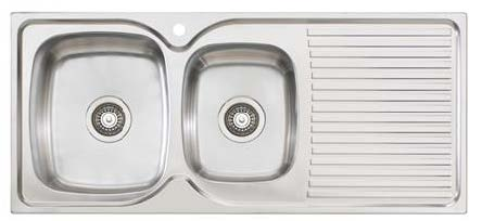 Oliveri Project Sink – 1&3/4 Bowl & Drainer - Topmount