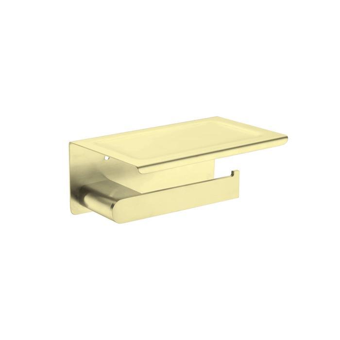 NERO VITRA TOILET ROLL HOLDER WITH SHELF BRUSHED GOLD