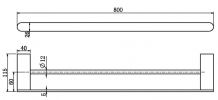 NERO VITRA DOUBLE TOWEL RAIL 800MM MATTE BLACK Product Image 2
