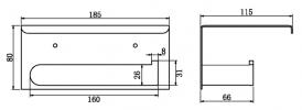 NERO VITRA TOILET ROLL HOLDER WITH SHELF CHROME Product Image 2