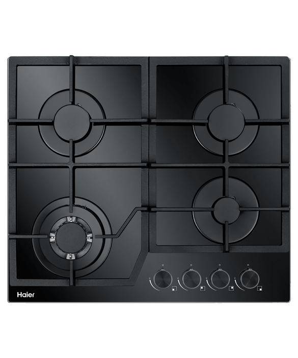 Haier Black Gas on Glass Cooktop, 60cm Product Image 1
